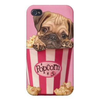 mopsvalpen i retro popcorn ösregnar iPhone 4 cover