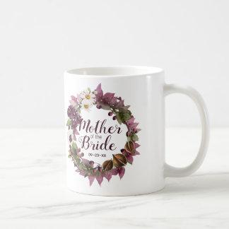 Mor för plommon för nedgångbröllopkran av bruden kaffemugg