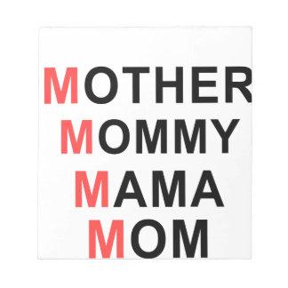 Mor mamma, mammor, mamma anteckningsblock