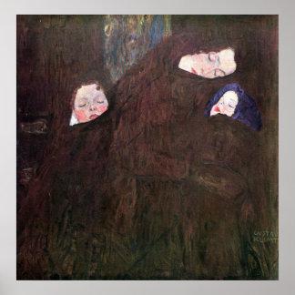 Mor med barn av Gustav Klimt Poster