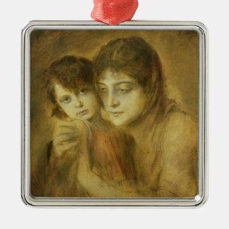 Mor och barn, 1893 julgransprydnad metall