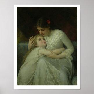 Mor och barn (olja på kanfas) poster