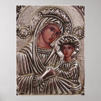 Mor- och barnsymbol, Madonna och Jesus i silver Poster