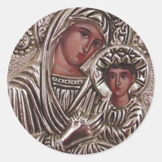 Mor- och barnsymbol, Madonna och Jesus i silver Runt Klistermärke