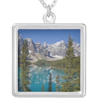 Moraine sjö, kanadensiska Rockies, Alberta, Kanada Silverpläterat Halsband