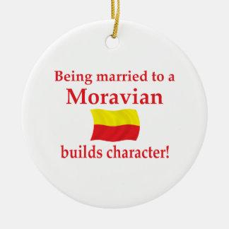 Moravian bygger teckenet julgransprydnad keramik