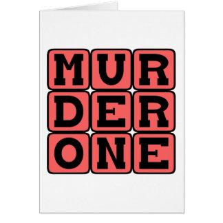Mord ett, brottslig anstöt hälsningskort