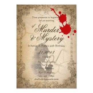 Mordgåta inviterar flott vintageParchment 12,7 X 17,8 Cm Inbjudningskort