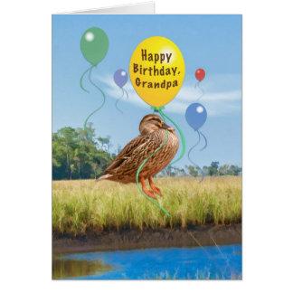 Morfar födelsedagkort med ankan och ballonger hälsningskort