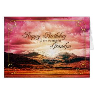 morfarfödelsedag, solnedgång över bergen hälsningskort