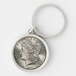 morgan dollarnyckelring rund silverfärgad nyckelring