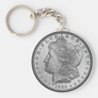 Morgan silverdollar rund nyckelring