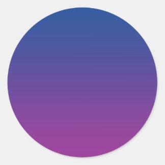 Mörk - blått & lilor Ombre Runt Klistermärke