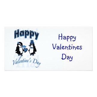 Mörk - blåttpingvinalla hjärtans dag fotokort