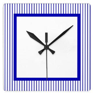 Mörk - blåttvitstreck fyrkantig klocka