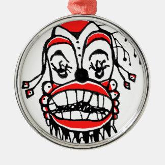 Mörk clownteckning rund silverfärgad julgransprydnad