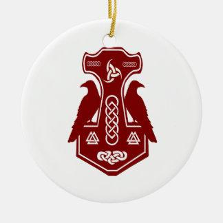 Mörk - den röda thor'sen bultar med Ravens Julgransprydnad Keramik