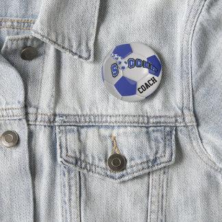 Mörk för fotbollbollsportar   - blått standard knapp rund 5.7 cm