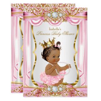 Mörk för silke för brunettPrincess baby shower 12,7 X 17,8 Cm Inbjudningskort