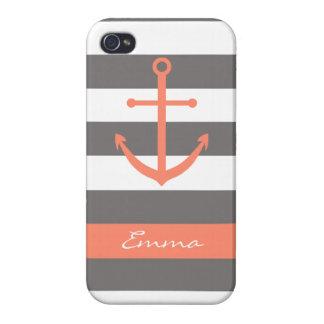 Mörk grå färg och korall ankrar Monogramfodral iPhone 4 Skydd