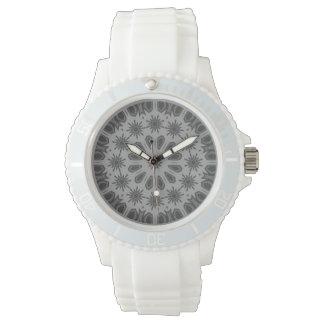 Mörk - grå mosaisk mönsterklocka armbandsur