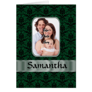Mörk - grön damastast fotomall hälsningskort