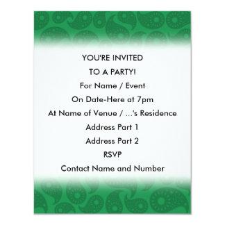 Mörk - gröna Paisley. 10,8 X 14 Cm Inbjudningskort