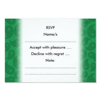 Mörk - gröna Paisley. 8,9 X 12,7 Cm Inbjudningskort