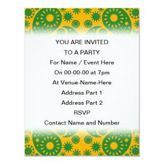 Mörk - grönt och orange - gula Paisley. 10,8 X 14 Cm Inbjudningskort