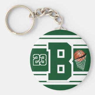 Mörk - grönt- och vitbasketbrev och numrerar rund nyckelring