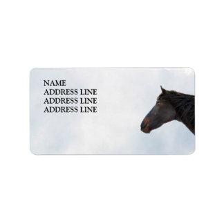 Mörk häst och himmel - western returadress adressetikett