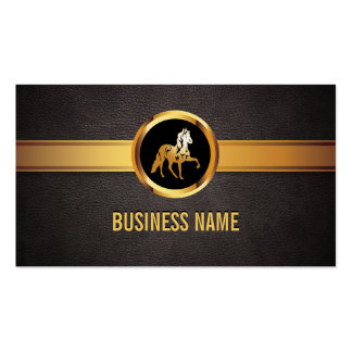 Mörk lädervisitkort för kunglig guld- häst set av standard visitkort