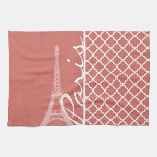 Mörk lax Quatrefoil; Eiffel torn Kökshandduk