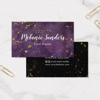 Mörk lila- och för guldvisitkort | kreativ visitkort