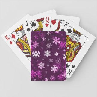Mörk lila snöflingor spel kort