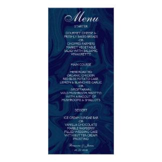 Mörk - meny för bröllop för blåttmarmorvattenfärg
