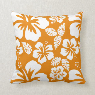 Mörk - orange tropisk hibiskus kudde