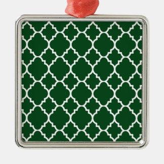 Mörk - Quatrefoil för grön vit marockanskt mönster Silverfärgad Fyrkantigt Julgransprydnad