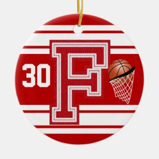 Mörk - röd basket alla universitetarbrev - F Julgransprydnad Keramik