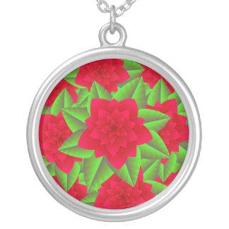 Mörk - röda Camellias och gröntlöv Silverpläterat Halsband