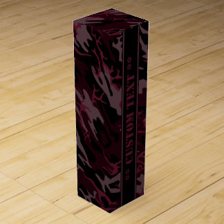 Mörk - röda Camo med beställnings- text Vinlåda