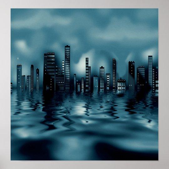 Mörk slösar Cityscape med reflexioner i vatten Poster