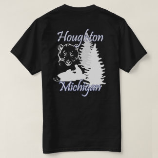 Mörk T för Houghton Michigan Snowmobilebjörn T-shirt