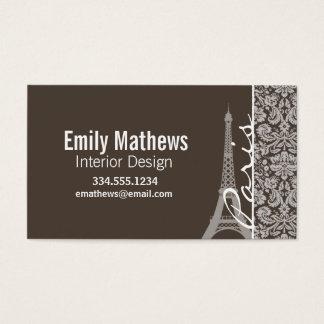 Mörk Taupe, brun damast; Paris Visitkort