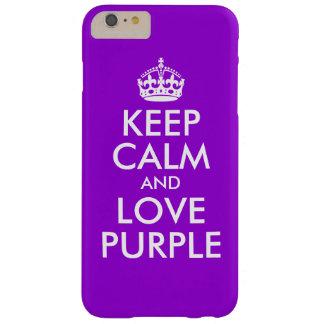 Mörk violet- och vitbehållalugn och kärleklilor barely there iPhone 6 plus fodral