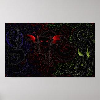 Mörka elementära katter poster