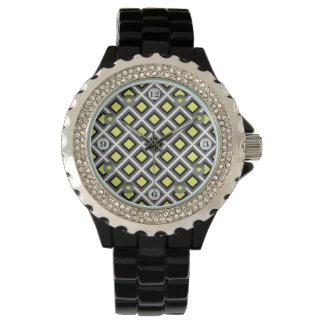 Mörka grå färg, svart, gula Ikat diamanter vid Armbandsur