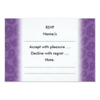 Mörka purpurfärgade Paisley. 8,9 X 12,7 Cm Inbjudningskort