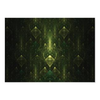 Mörka smaragdgröntansikten. Fractal Art. 12,7 X 17,8 Cm Inbjudningskort