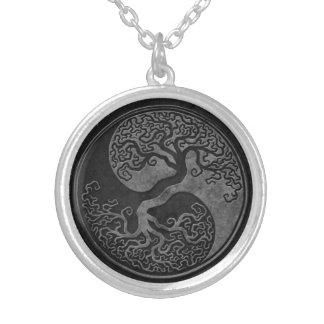 Mörka stenYin Yang träd Silverpläterat Halsband